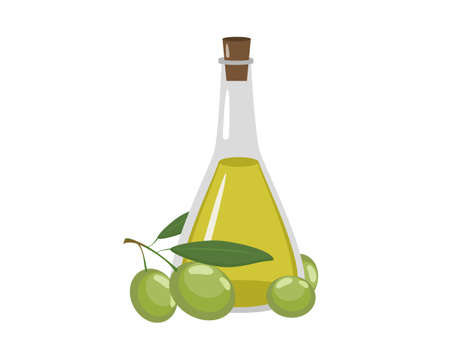 Bottle of fresh extra virgin olive oil with green leaf isolated on white background. Icon vector illustration. 일러스트