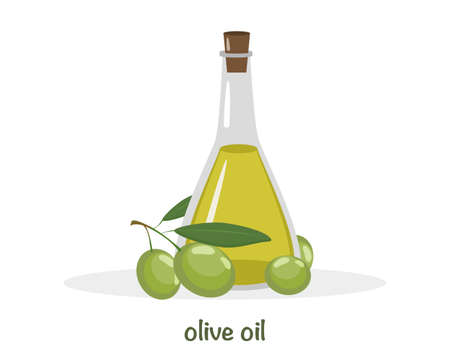 Bottle of fresh extra virgin oil with green leaves isolated on white background. Icon vector illustration. 일러스트