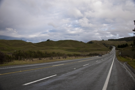 Clean gravel road in New Zealand photo