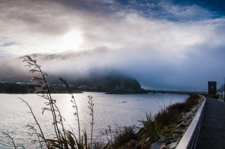 Could sunrise and Foggy surise in Greymouth photo