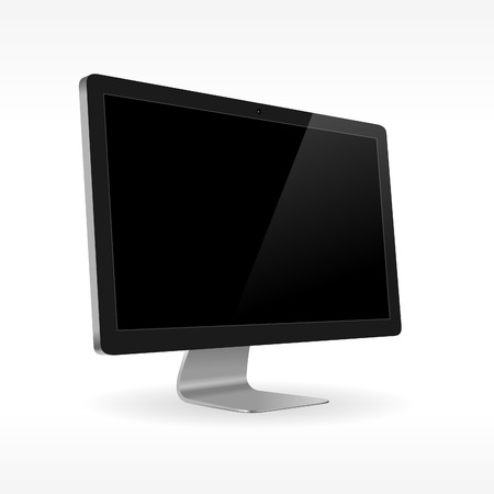 pc monitor: Sideview of black LCD screen isolated on white background