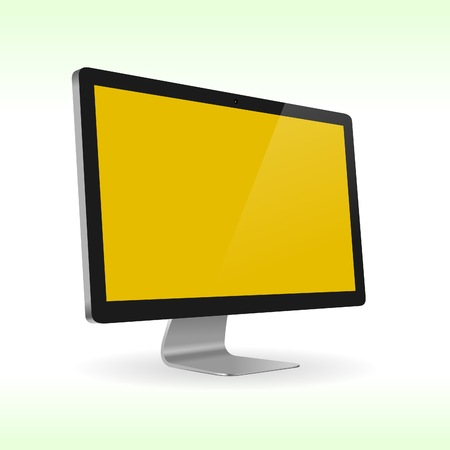 tv monitor: Sideview of LCD screen isolated on green background