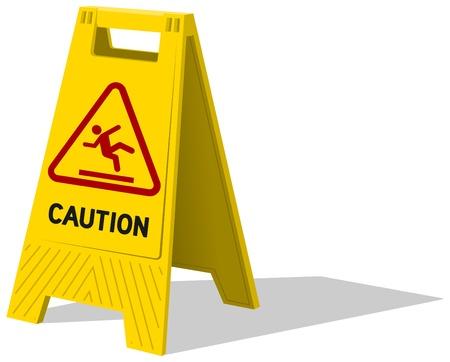wet floor caution sign: Piso h�medo y limpieza en curso Vectores