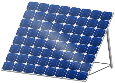 photovoltaic cell: Blue solar panel with reflection in 3D Illustration