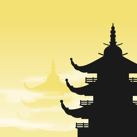 shrine: Asian Pagoda Silhouette at Dawn Illustration