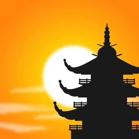 夕暮れ時にアジアの塔のシルエット  イラスト・ベクター素材