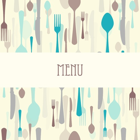 soup and salad: Dining menu with cutlery