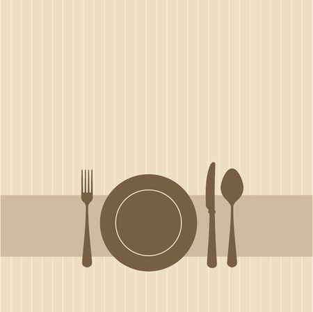 knife and fork: Brown invitation to a party