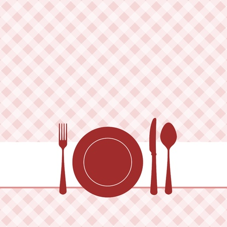 brunch: Brunch invitation with red pattern