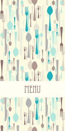 soup and salad: Restaurant menu with cutlery