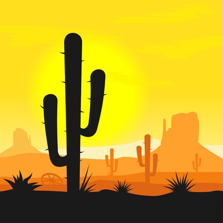 cactus desert: Cactus planten in de woestijn Stock Illustratie
