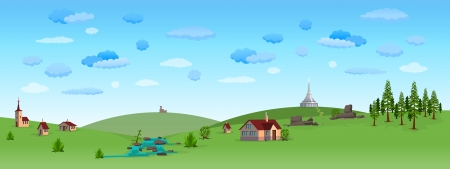 rural houses: Nature Landscape with Blue Sky