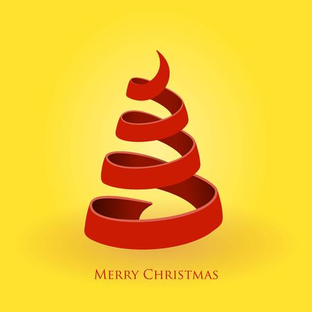 Red Christmas Tree on Gold Background  Vector