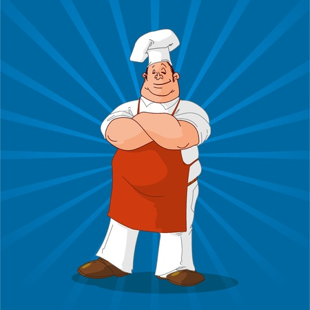 cooker: Confident Cook on Blue Background