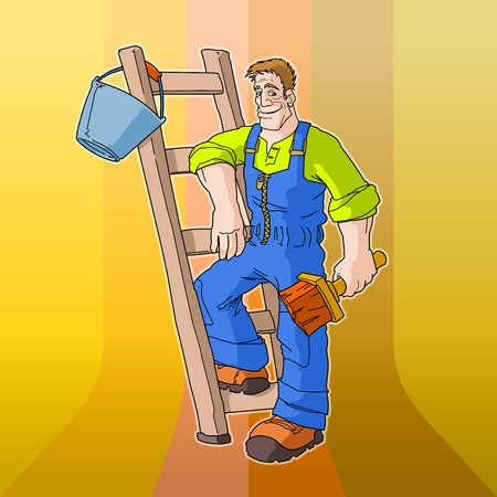 Painter on Retro Background Vector