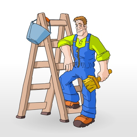 Painter Painting With Ladder Stock Vector - 11640182