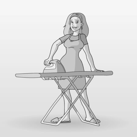 Monochrome Housewife Illustration Vector