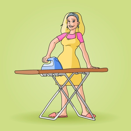 Housewife Ironing Clip Art Vector