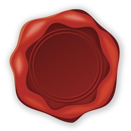 tampon cire: Cachet de cire rouge dans Illustration