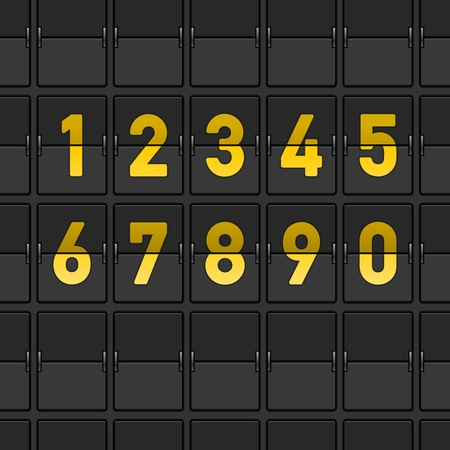 numbers: Airport Dashboard with Flipping Numbers Illustration
