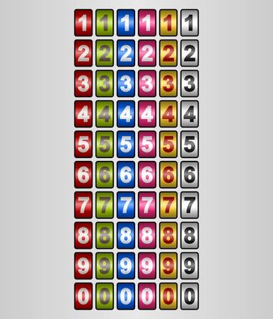 chronologie: Num�ros tournantes dans diff�rentes couleurs