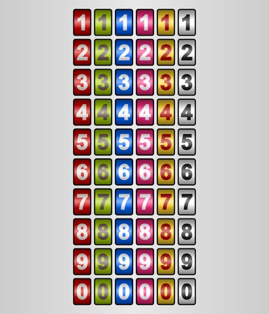 Rotating Numbers in various colors Vector