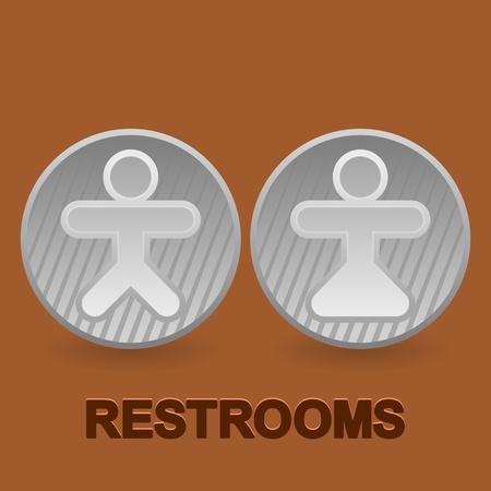 simbolo uomo donna: Igienici simboli su sfondo marrone