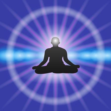 La meditación sobre fondo azul