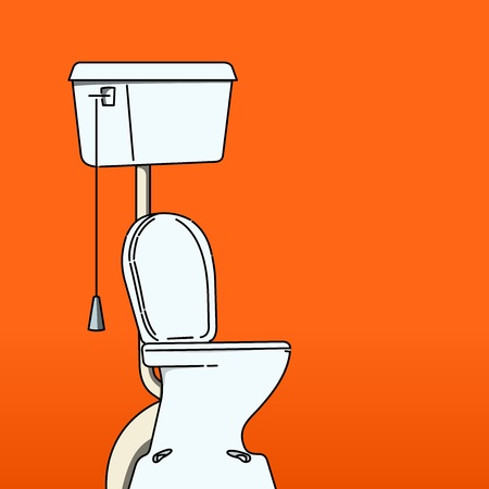 urine: Toilet Bowl on red background