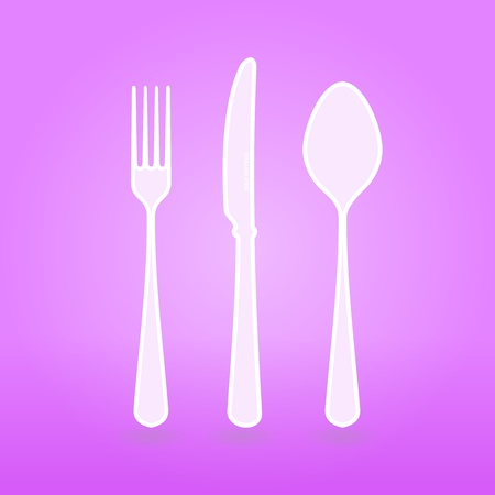 Violet Cutlery Set Vector