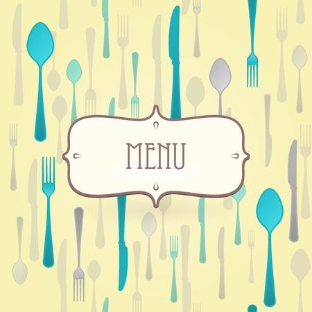 dinner setting: Men� del restaurante de primera calidad Vectores