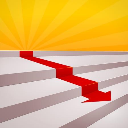 赤い矢印のステップに  イラスト・ベクター素材