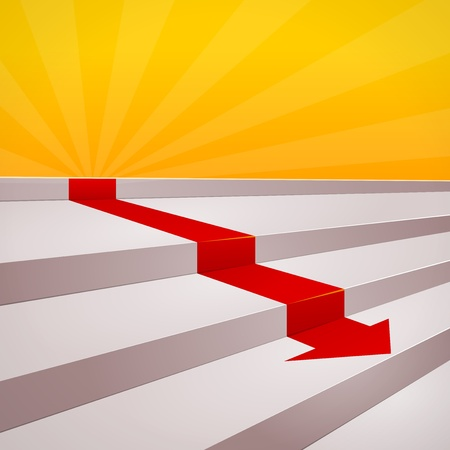 Red arrow on steps Vector