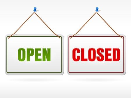 Segno negozio aperto e chiuso Vettoriali