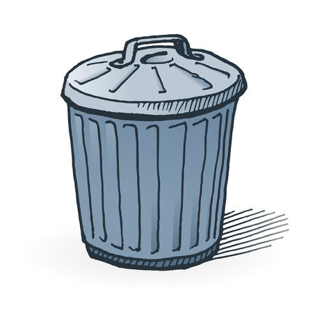 trash can: American Trash Can Illustration
