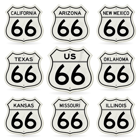 Complete Route 66 Signs Collection Vector