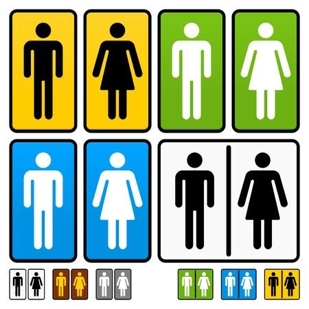 wc: Männliche und weibliche Toiletten Vektor Anmelden Illustration