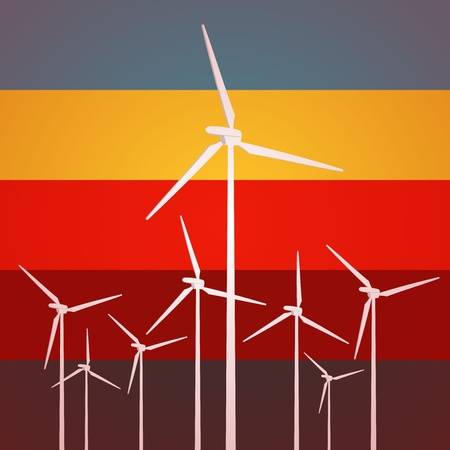 Wind Turbines Vintage Style Stock Vector - 12274703