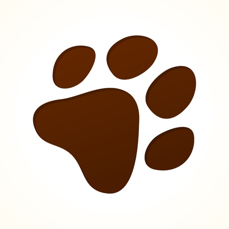 dog track: Brown Footprint Illustration