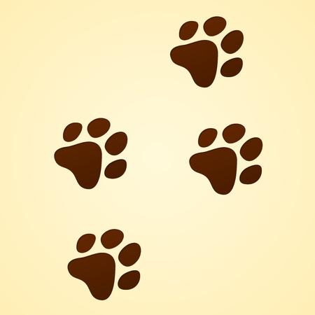 huellas de perro: Vida Silvestre de seguimiento de dibujos animados Vectores