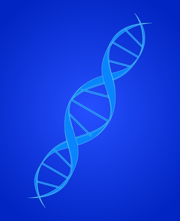 DNA Spiral on Blue Vector