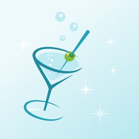 shaken: Martini Drink in Glass Illustration