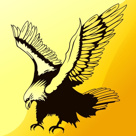 cartoon eagle: Landing Eagle Silhouette