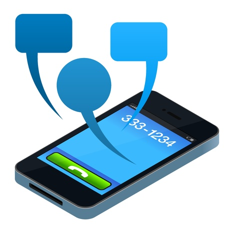 sms icon: Social Mobile Phone Illustration