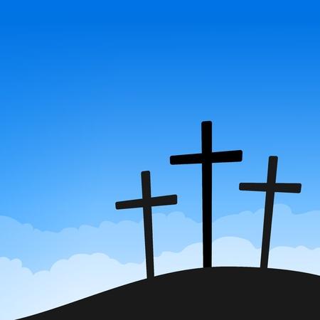 pasqua cristiana: Tre Croci sul cielo blu Vettoriali