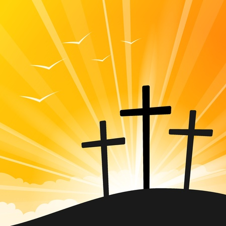 resurrección: Estilo de Pascua Tres Cruces Vectores