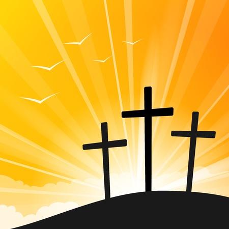 pasqua cristiana: Pasqua stile di Tre Croci Vettoriali
