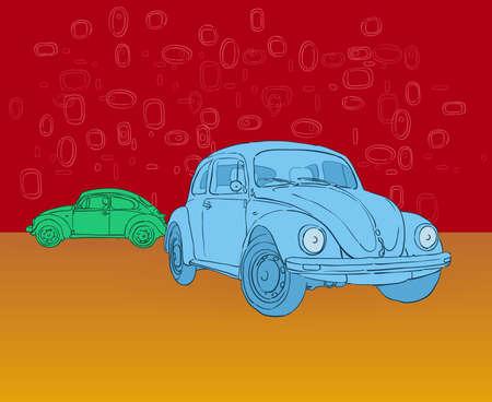 auto illustratie: Beetle Hippies autoillustratie Stock Illustratie