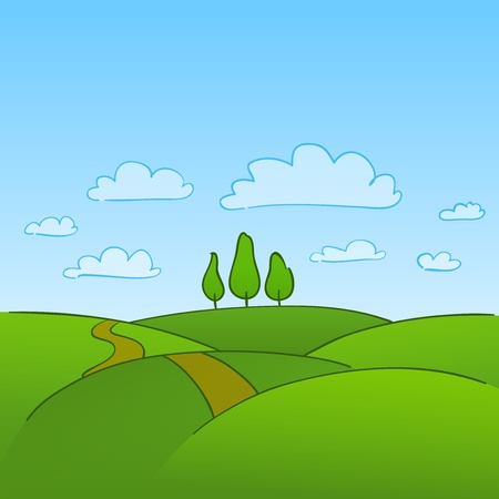 Green Countryside and Trees Vector