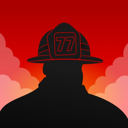 Red Fireman Silhouette Vector